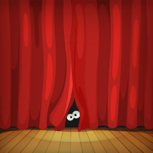 Illustration of funny cartoon human creature or animal character's eyes hiding and looking from behind red curtains in theater wooden stage