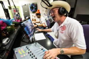 "Volunteer DJ ""Cowboy Kelly Williams broadcasts to the patients at Texans Children's Hospital in the Radio Lollipop studios on Thursday, Dec. 3, 2015, in Houston. Radio Lollipop is a fully-equipped, on-site radio station that broadcasts three nights a week to patients' rooms via Texas Children's television system. Each on-air broadcast features games, art projects, storytelling and contests in which kids win prizes. ( Brett Coomer / Houston Chronicle )"